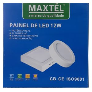 Painel Plafon Luminaria Sobrepor Quadrado 12w Branco Frio
